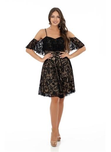 Carmen Dantelli Askılı Kısa Abiye Elbise Siyah